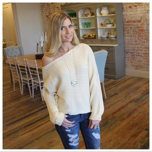 Sweaters - Cream off shoulder cable knit sweater